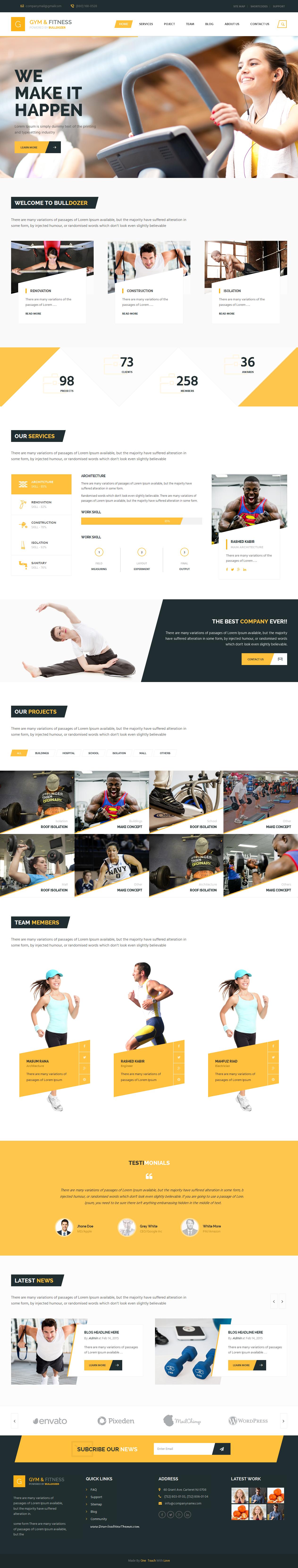 Bulldozer Is An Multipurpose Premium Bootstrap Niche Template Gym Fitness Healthcare Webdesign Niche Template Web Design Bootstrap Template