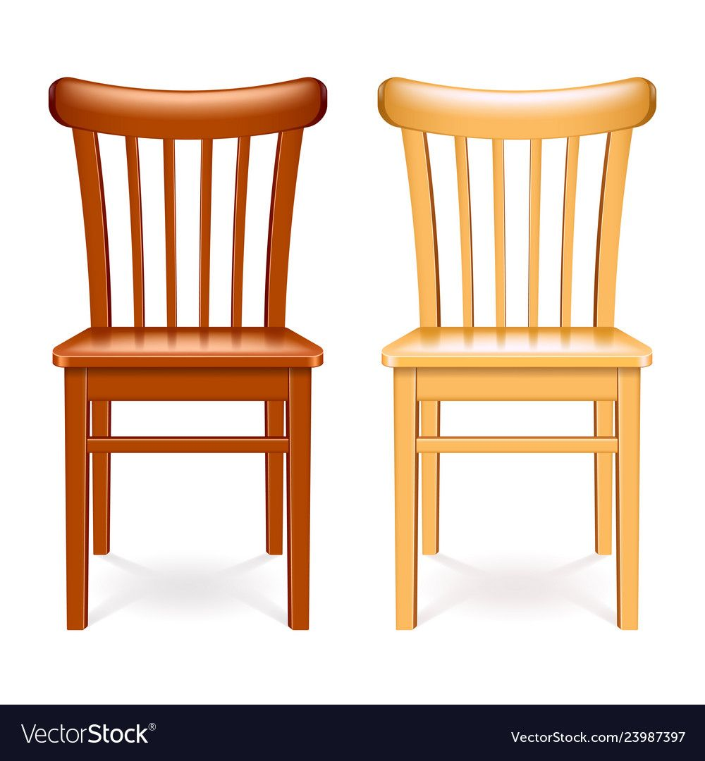 Wooden Chair Isolated On White Vector Image On Vectorstock Wooden Chair Chair Leather Chair With Ottoman
