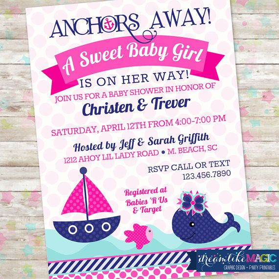 Printable Baby Shower Invitation- Nautical Sweet Baby Girl Design - printable baby shower invite
