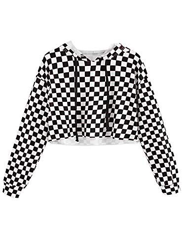 Kids Crop Tops Girls Sweatshirts Long Sleeve Plaid