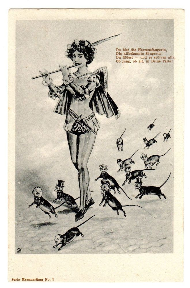 POSTCARD FANTASY LADY PIED PIPER AND RATS WITH MEN'S HEADS