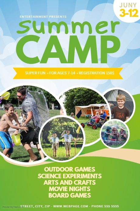 summer camp flyer template postermywall kids event flyer