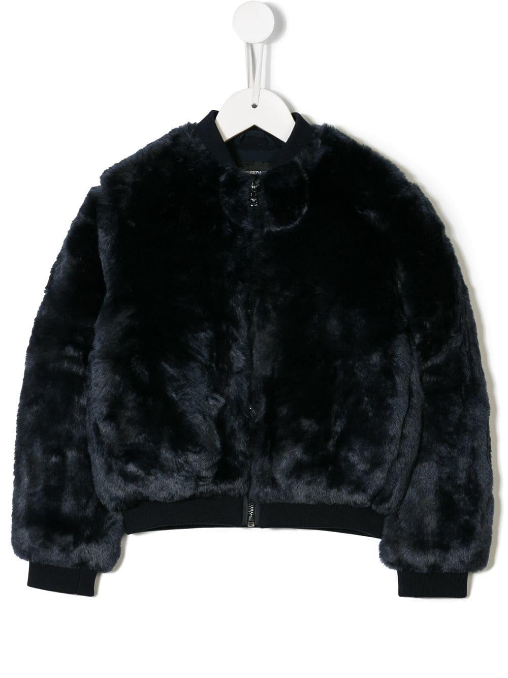 Emporio Armani Kids Faux Fur Jacket Blue Products In 2019 Armani Kids Faux Fur Jacket Fur Jacket
