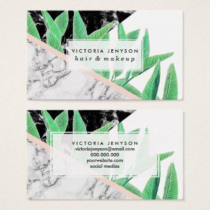 Tropical palm tree black white marble color block business card colourmoves