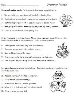Worksheets Second Grade Grammar Worksheets thanksgiving grammar review worksheet for second grade language arts freebie