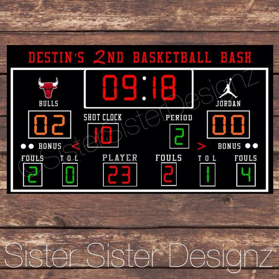 Printable Basketball Scoreboard  Etsy Basketball Party And Birthdays