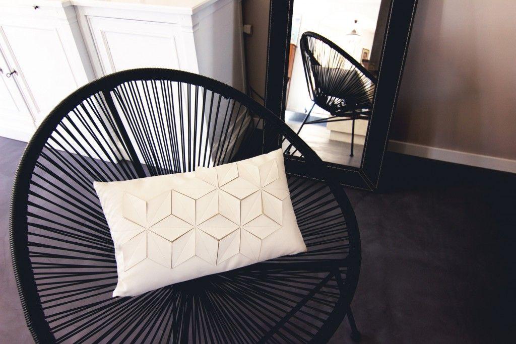 fauteuil fil acapulco coussin blanc origami maison du monde beton