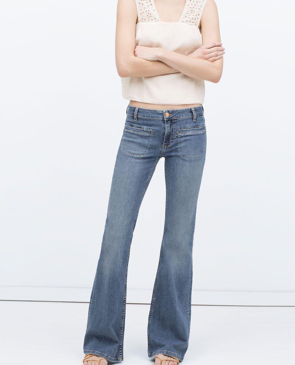 pantalon en denim bootcut femme nouveaut s zara liban. Black Bedroom Furniture Sets. Home Design Ideas