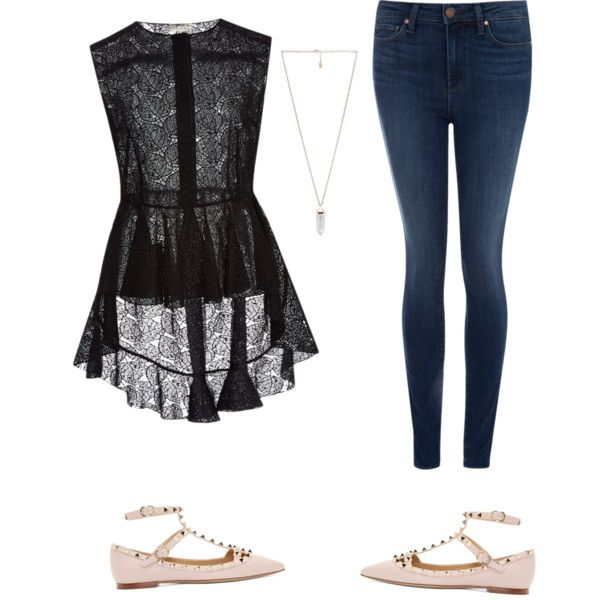 A fashion look from February 2015 featuring Giambattista Valli blouses, Paige Denim jeans and Valentino flats. Browse and shop related looks.