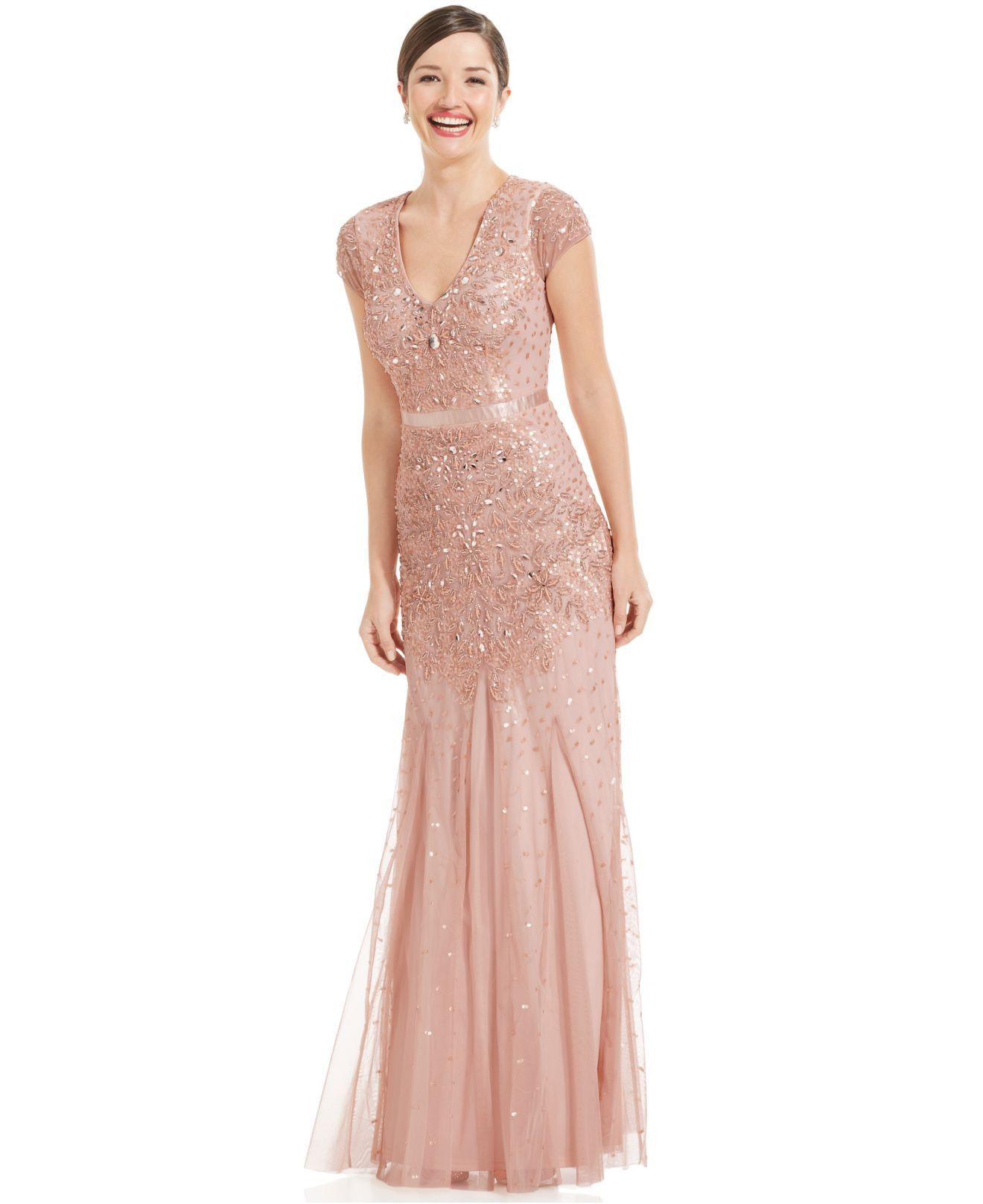 Adrianna Papell Cap Sleeve Beaded Embellished Gown Blush Mobmog