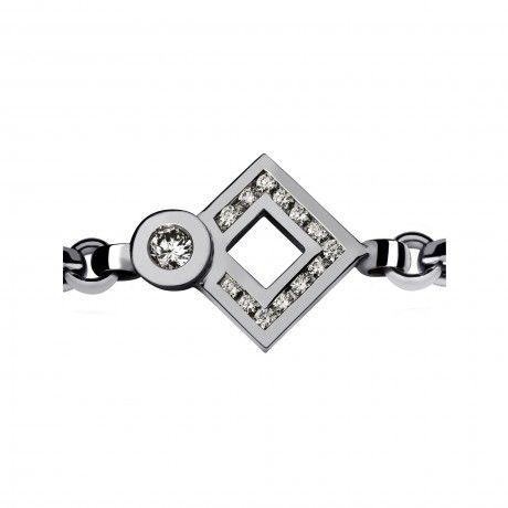 Philippe Tournaire Rhomb Eclipse Sign Diamond Rail Chain Bracelet