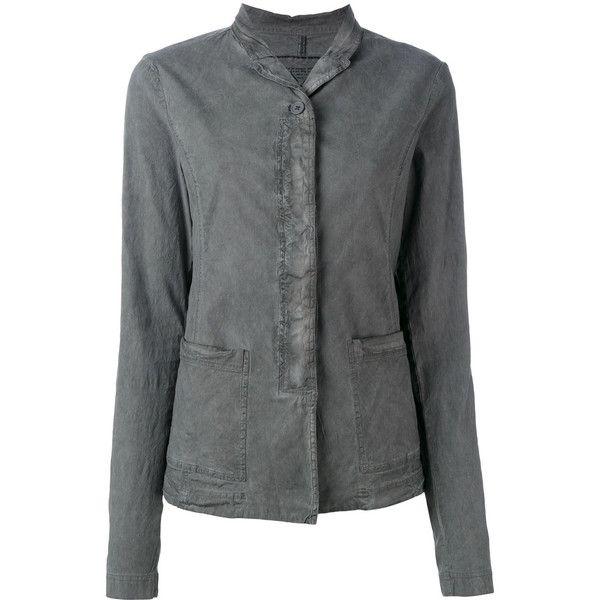 Rundholz Black Label Distressed Shirt Jacket ($327) ❤ liked on Polyvore featuring shirt jacket