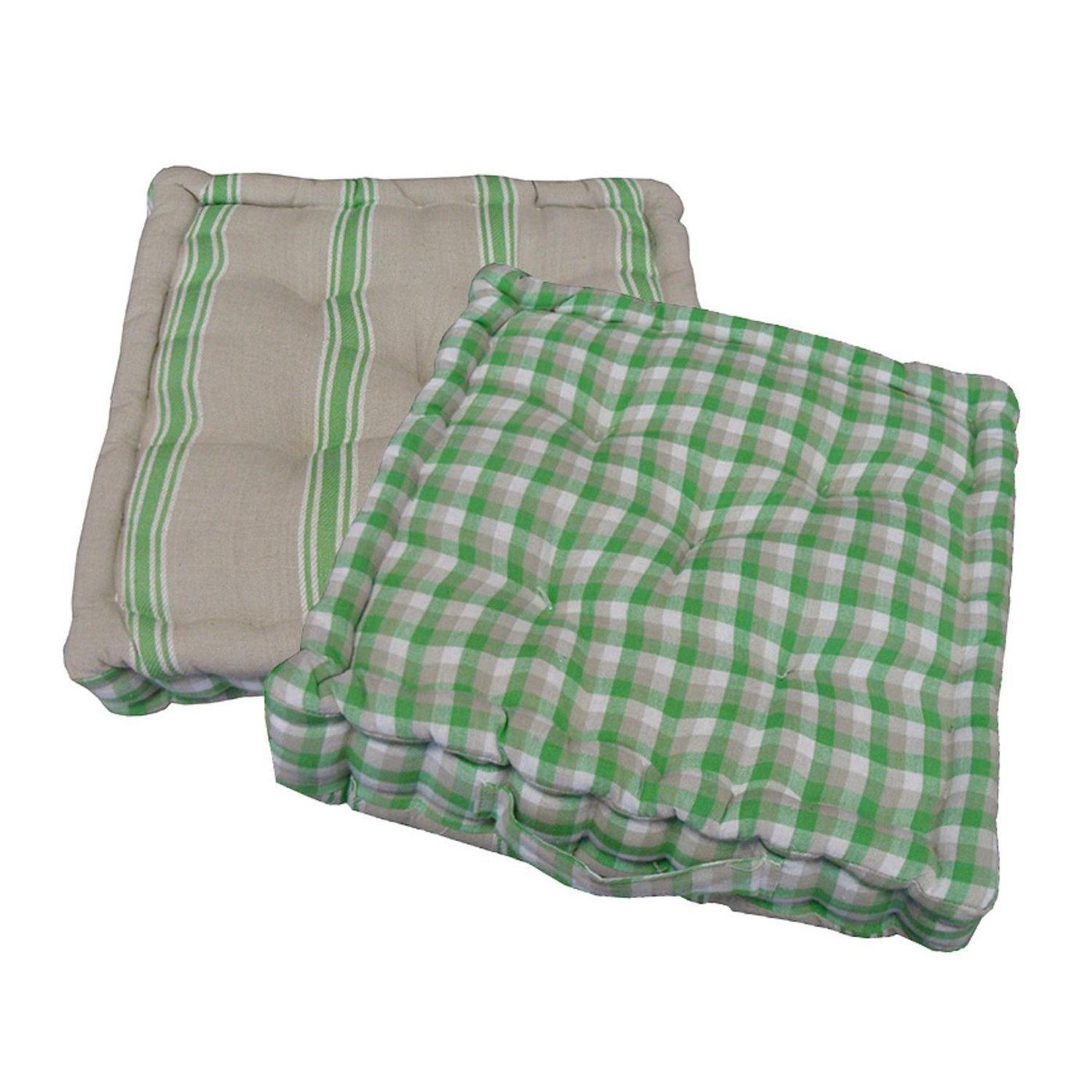 15 Plush Green, White and Beige Plaid and Striped Reversible Indoor ...