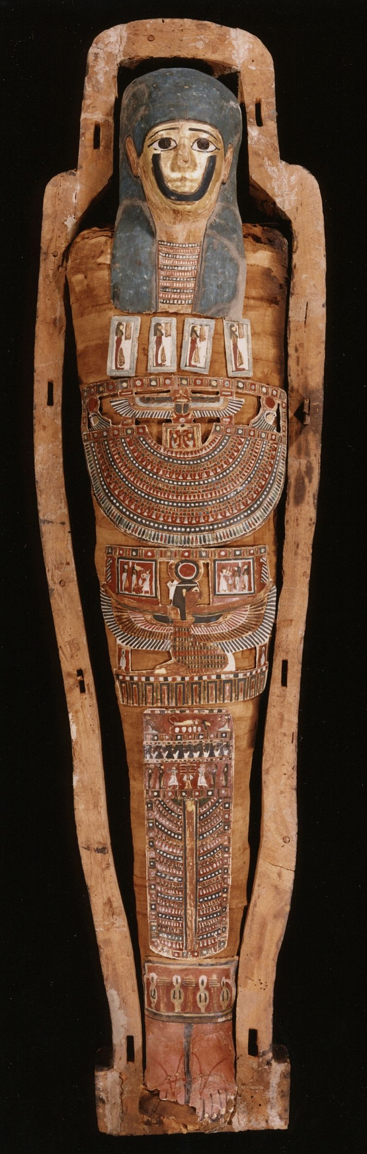 Egyptian mummy and coffin, 150 BC-50 A.D. Within these wrappings is the mummified body of a man who died 2,000 years ago.