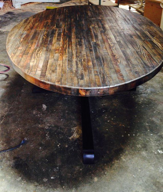 Extra Large Custom Butcher Block Strip Oval Wood Dining Table From Reclaimed