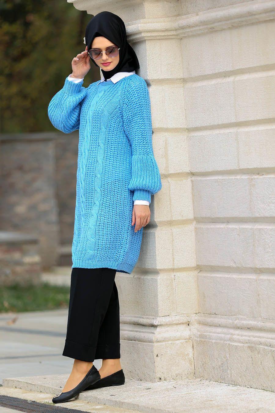 f8f5eb5ec4c15 Neva Style - Bebek Mavisi Örgü Tesettür Triko Tunik 30010BM #tesetturisland  #tesettur #tesetturelbise