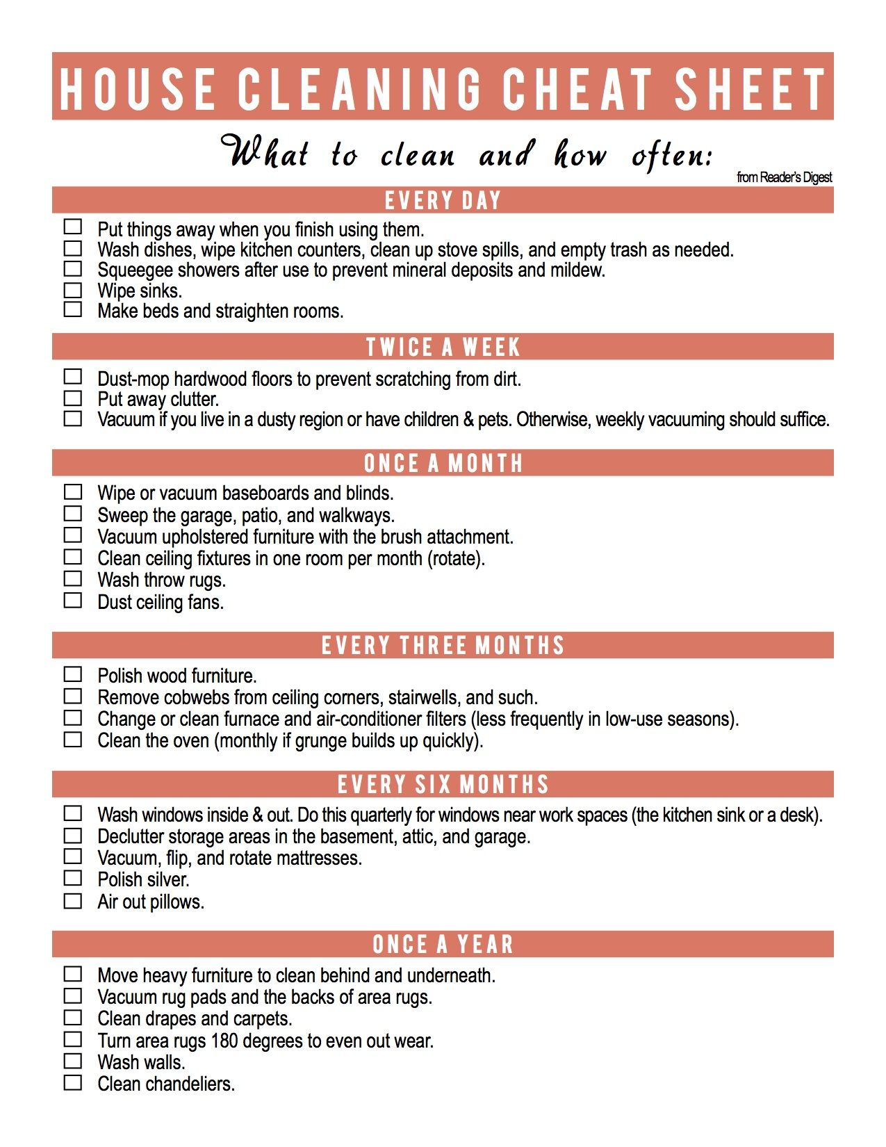 Spring Cleaning Cheat Sheet Printable