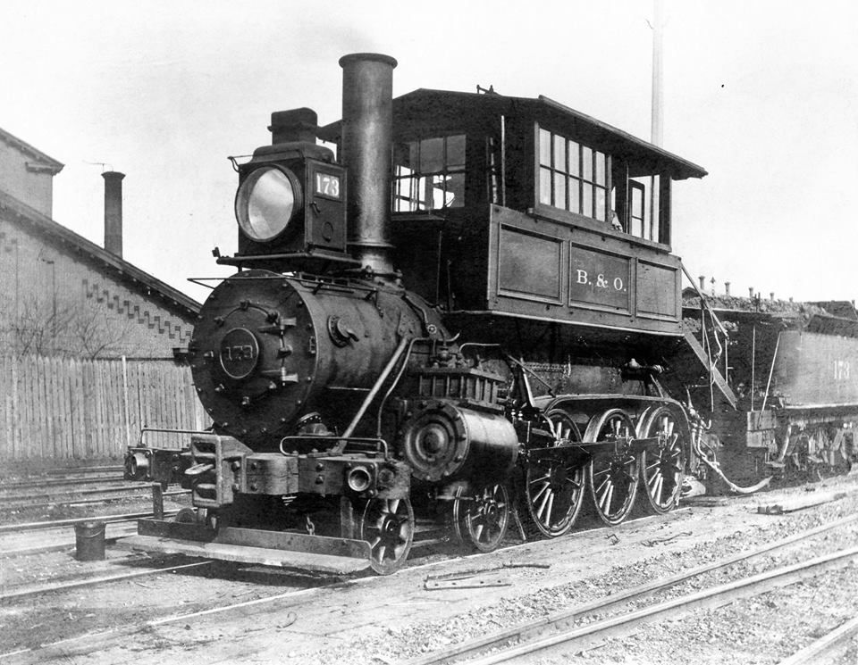 B & O Camel 4-6-0 173, a later post Winans development of the Camel design, seen in steam at an unknown location. B & O class B-58, it was built by B & O in 1873 as 363, and renumbered 173 in 1884.