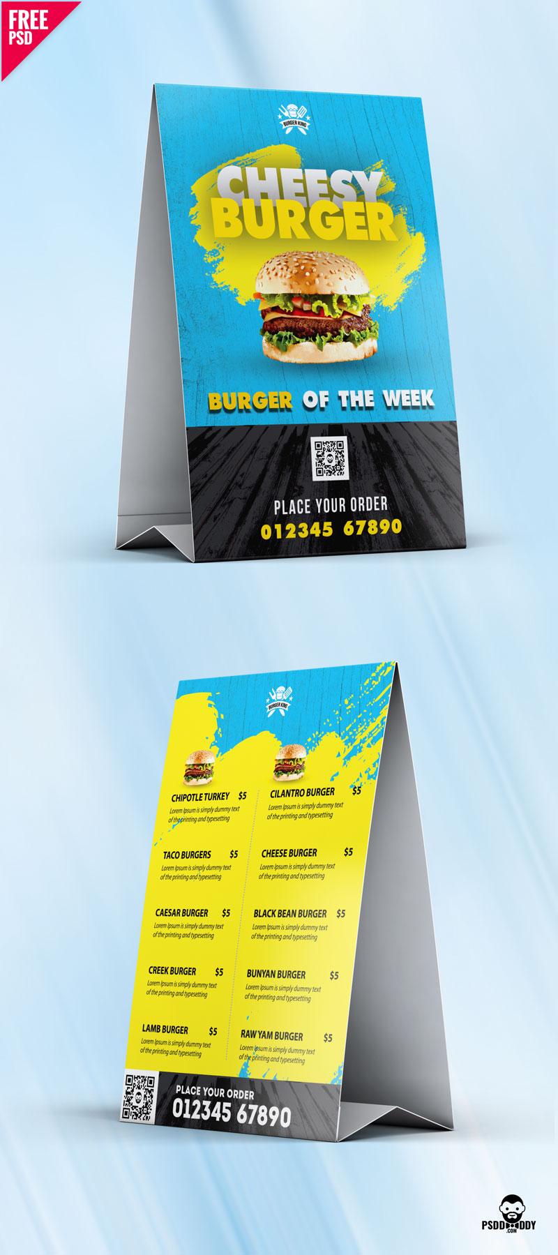 Food Menu Tent Card Design Free Psd Psddaddy Com Tent Cards Coffee Menu Design Card Design