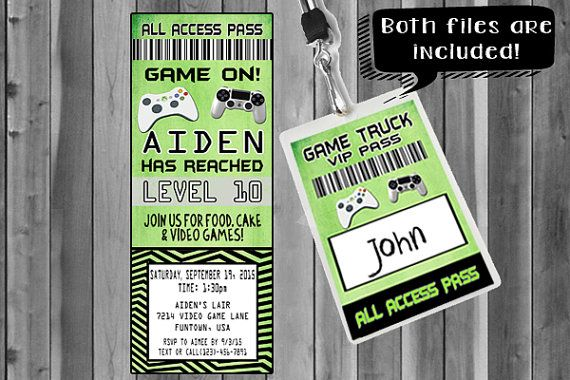 Video Game Party Invitation Ticket Invitation VIP Pass Custom