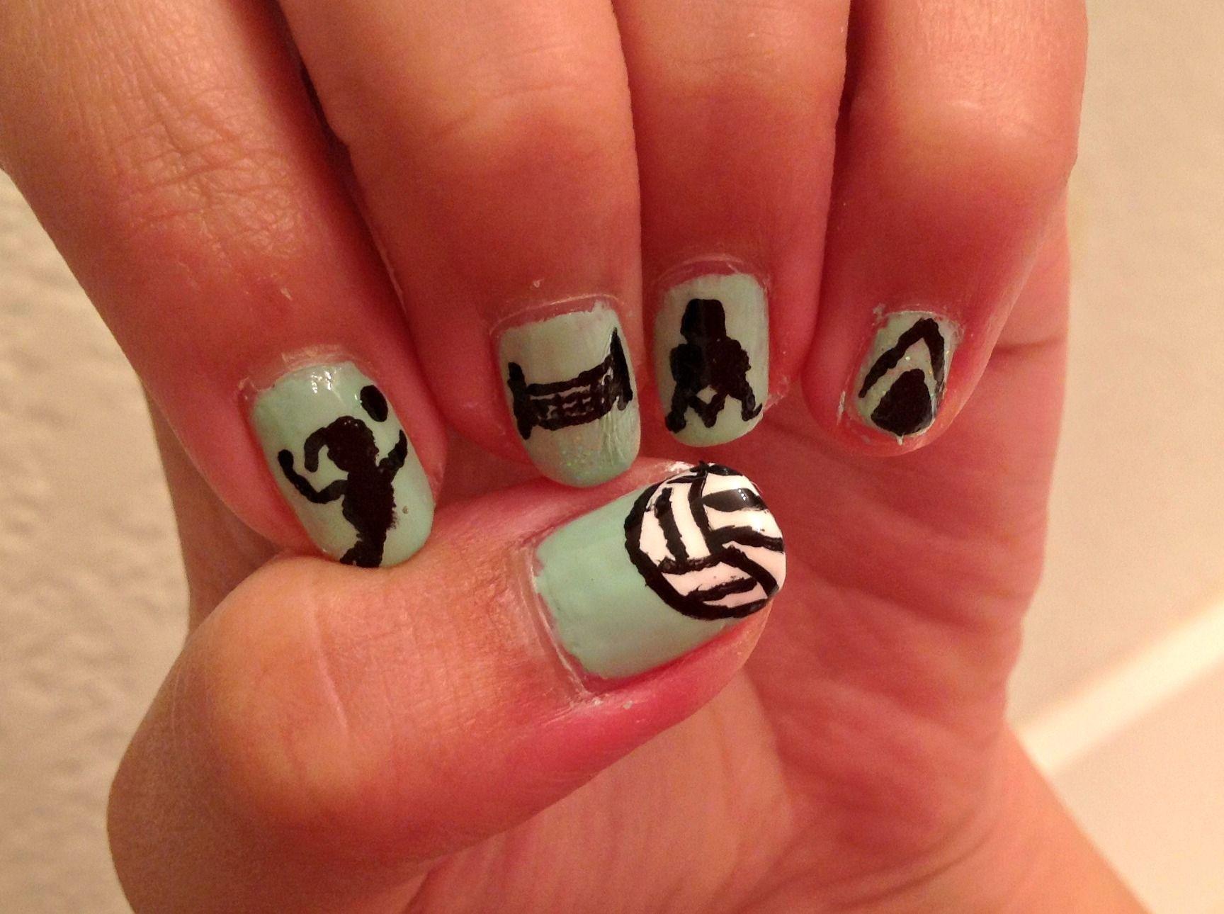 Volleyball Nail Art My Nail Art Pinterest Volleyball Nail Art