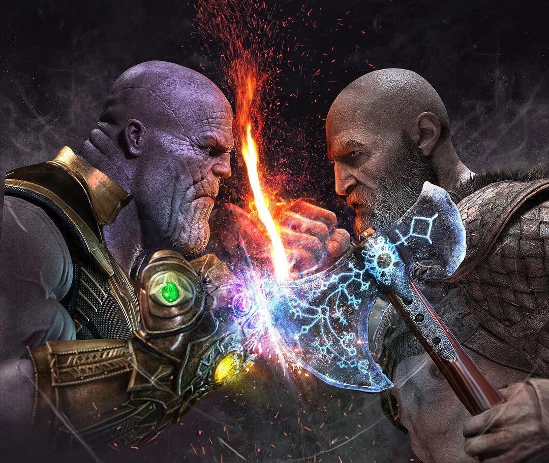 Kratos Vs Thanos Comikz Comedy Art Pinterest