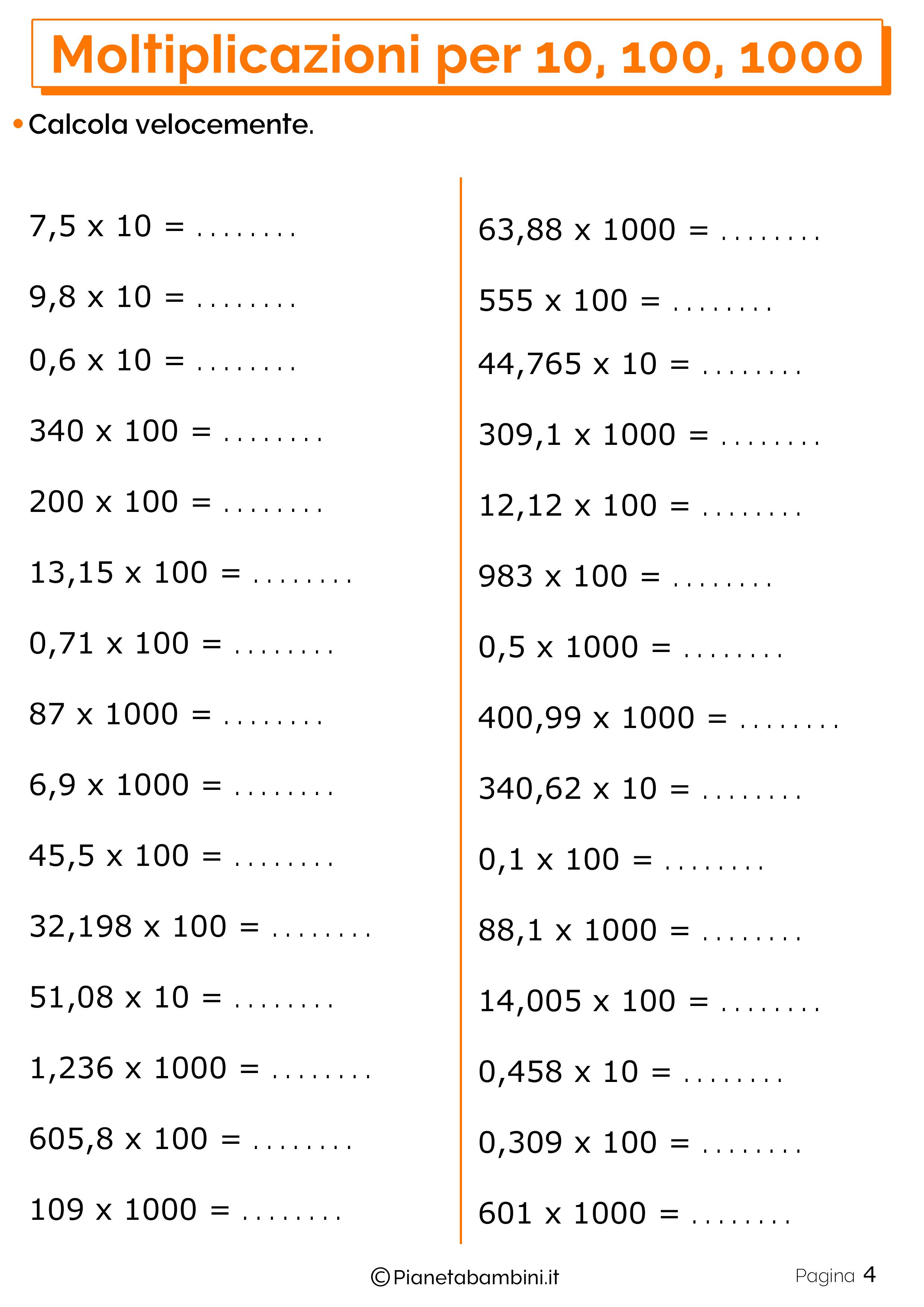 Moltiplicazioni per 10, 100 e 1000: Esercizi per la Scuola ...