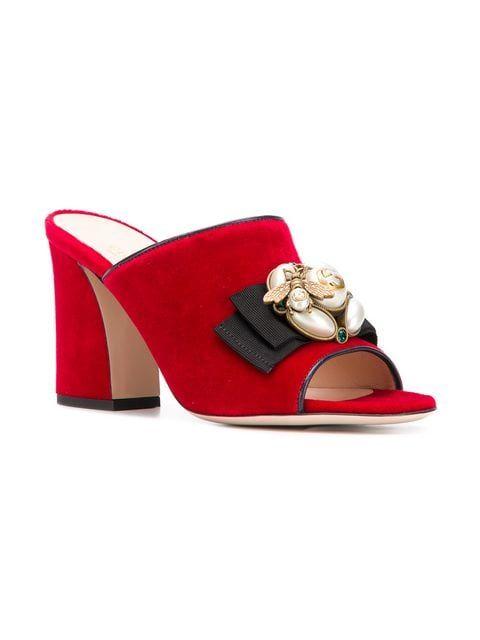 28e9c90fb3 Gucci Embellished High-heel Slides - Farfetch Shoes Heels Boots, Heeled  Boots, Heeled