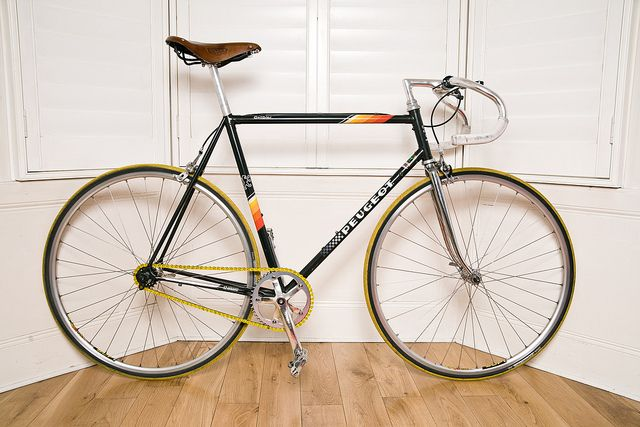 Peugeot 1983 Galibier with Mavic open rims/105 hubs and a Foffa chainset #single #speed #bicycle