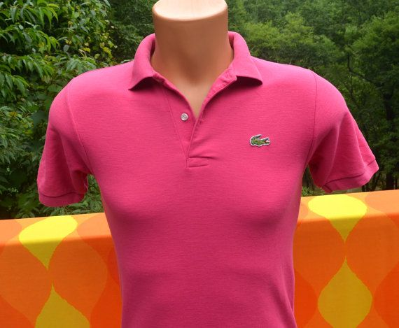 b1941a6c vintage 80s izod LACOSTE golf polo shirt magenta pink Small XS 70s alligator