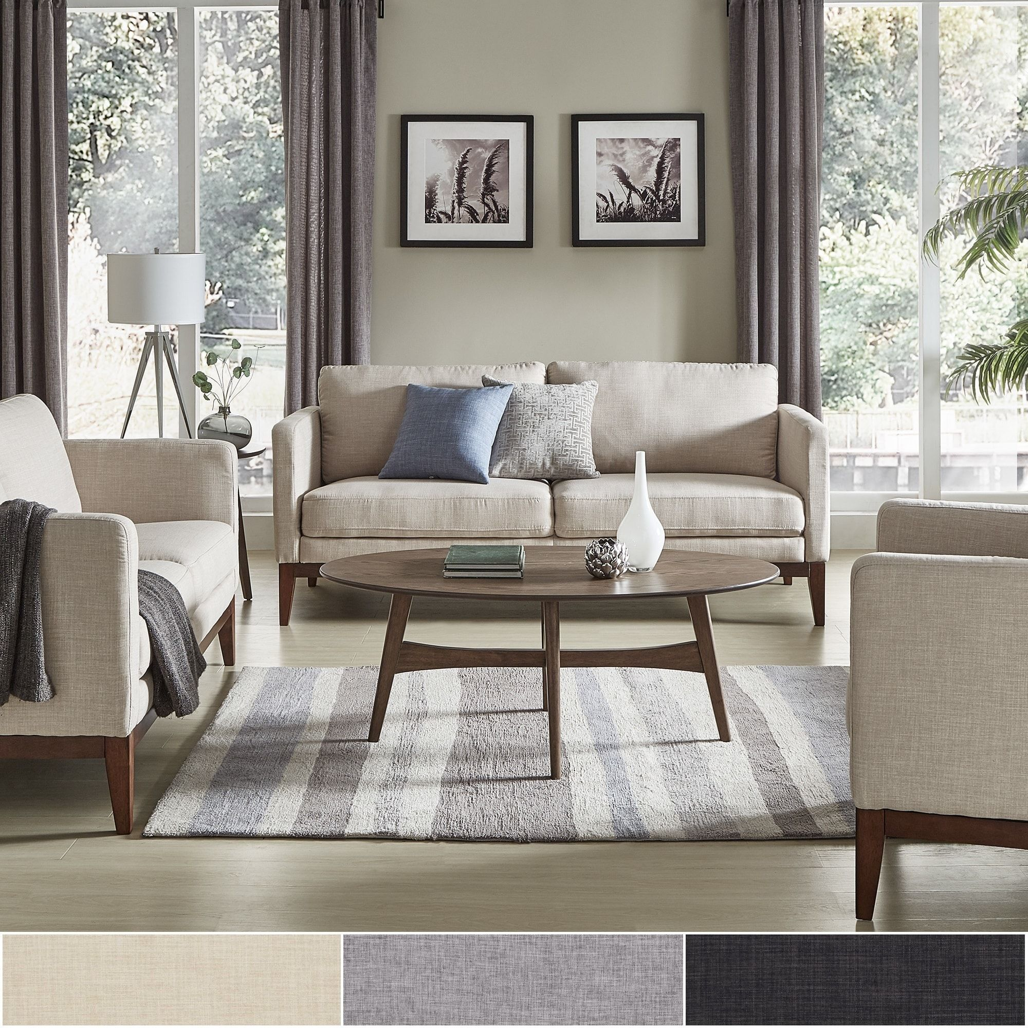 Perry Linen Upholstered Living Room Set By INSPIRE Q