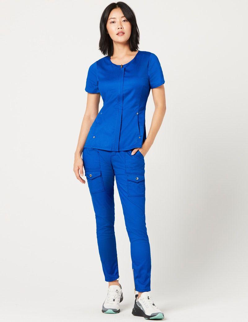 cb7da759d7 Hidden zipper top in royal blue medical scrubs by jaanuu – Artofit