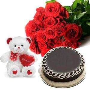 2lbs Chocolate Cake, 24 Red Roses & Teddy Bear Sahulat