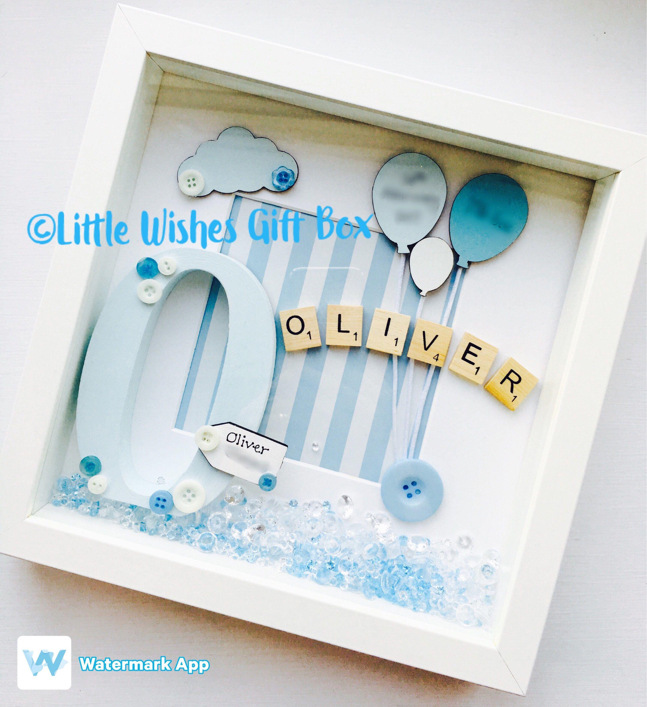 24924187d769b Baby Boy birth / child initial box frame, New Baby, Nursery decor ...