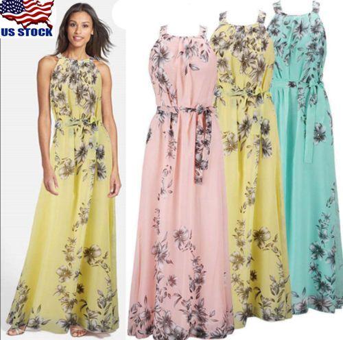 USA Women Summer Boho Long Maxi Dress Evening Party Beach Dresses Chiffon  Dress 892893ab4bf5