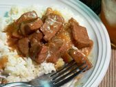 Photo of Instructions  1. Cut beef into about one inch cubes. 2. Plac…