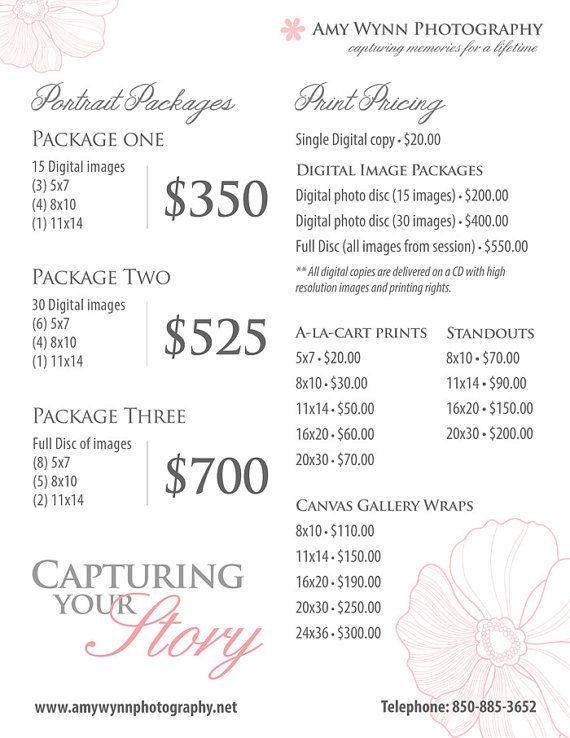 Photography Price List Pricing List for by ...