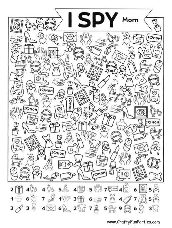 I Spy Mom Printable Game in 2020 Mother's day activities