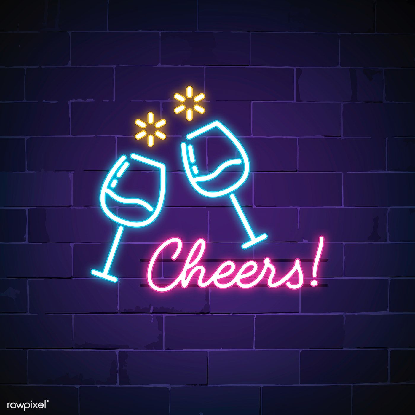 Cheers Bar Neon Sign Vector Free Image By Rawpixel Com Ningzk