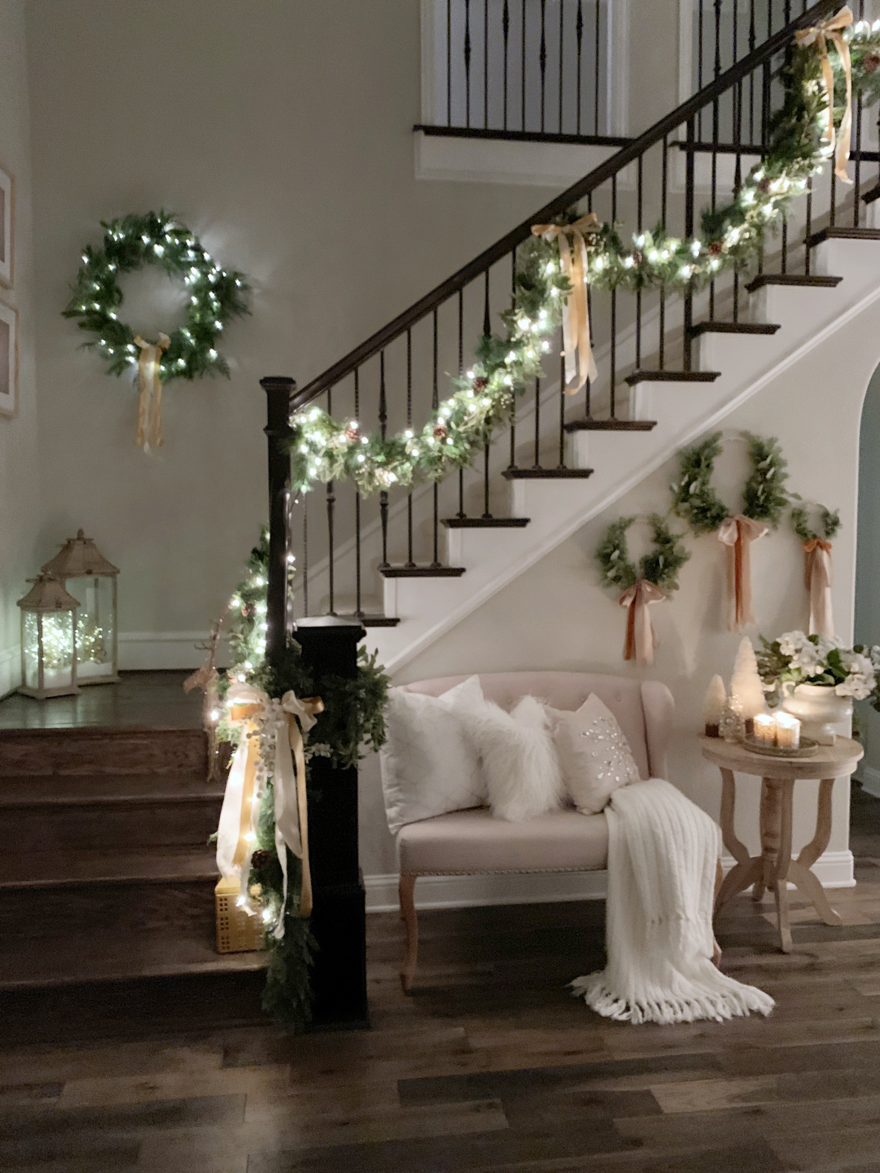 Christmas Home Tour 2018 Modern Farmhouse Glam With Silver And Gold My Texas House Christmas Staircase Decor Christmas Home Winter Home Decor