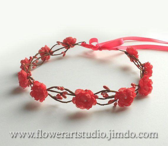 Coral Bridal Headpiece Coral Bridal Flower von Flowerartstudio - #Bridal #Coral #Flower #Flowerartstudio #headpiece #von #brautblume