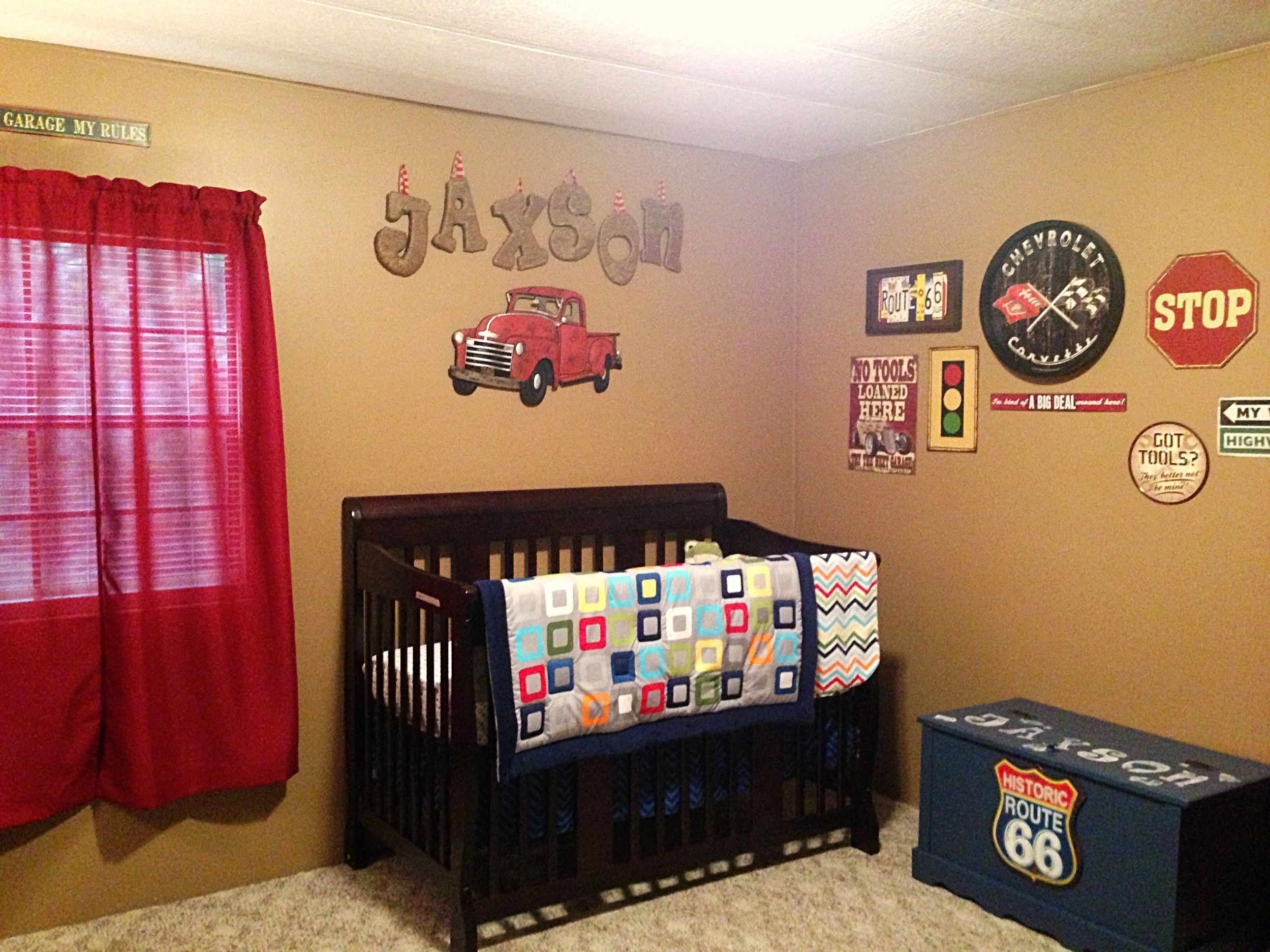 Baby boy room decor pinterest - Jaxson S Vintage Car Themed Nursery