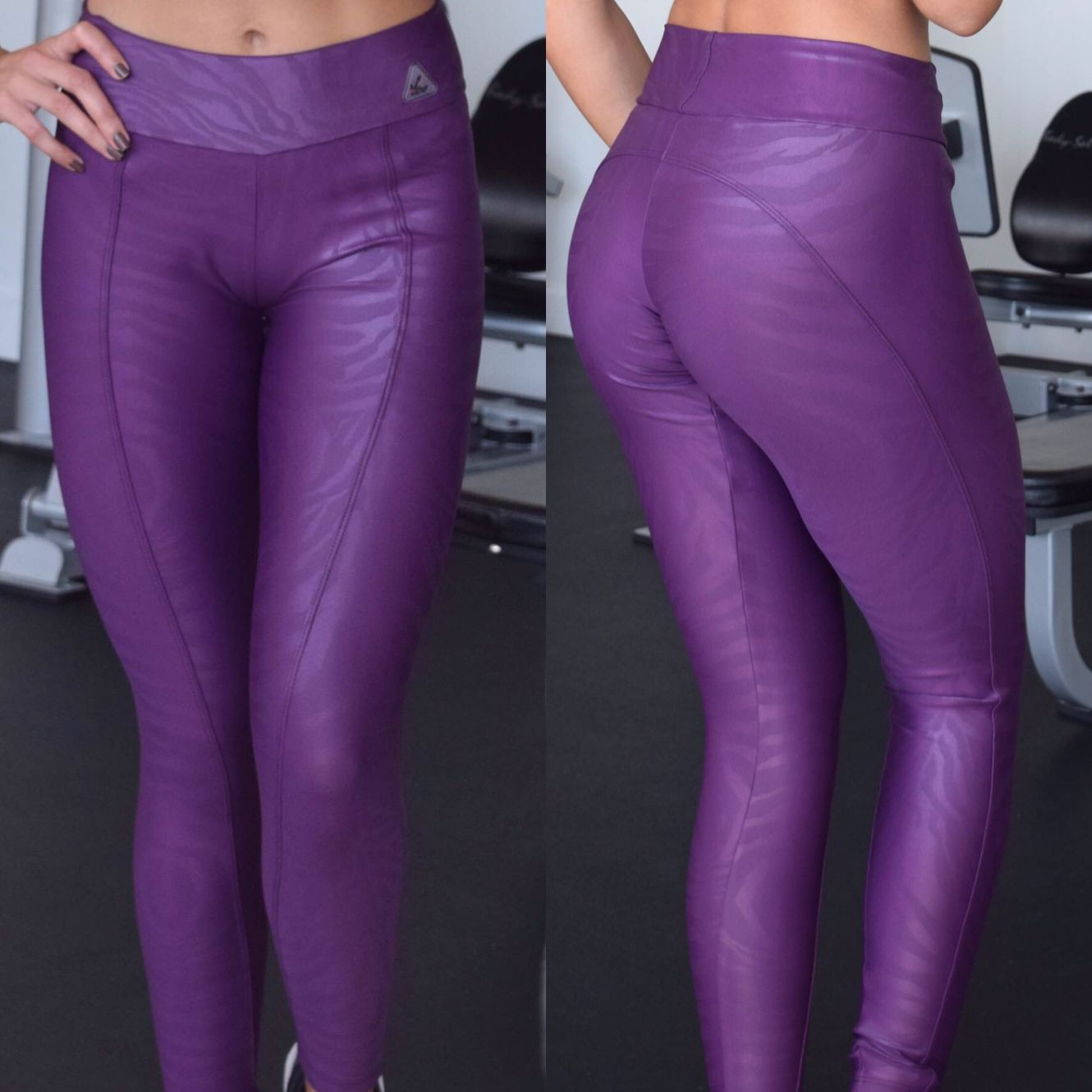 30aea261cdb4e Purple leggings for yoga and any workout fitness activity women's fitness  fashion animal prints shine fabric from Brazil