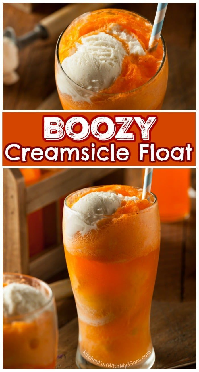 Boozy Creamsicle Floats - Such a delicious summer cocktail recipe. #drinks #boozy #cocktail #recipe #cocktaildrinks