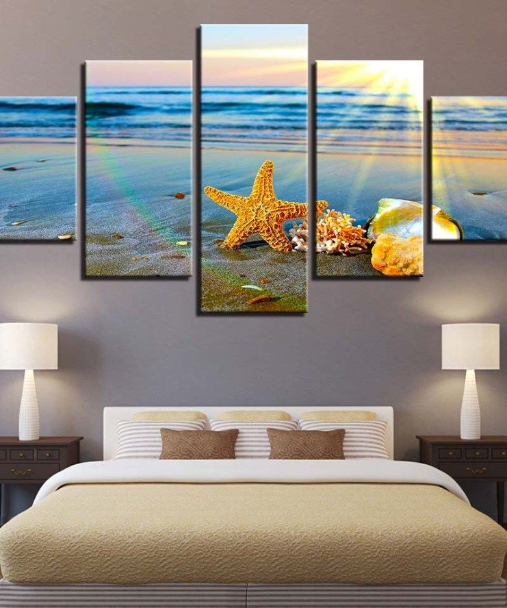 Hd Prints Home Decor 5 Pieces Shell Starfish Wall Art Canvas Painting Sunrise Landscape Modular Pictures Artwork Scenery Poster In 2020 Wall Art Canvas Painting Starfish Wall Art Canvas Art