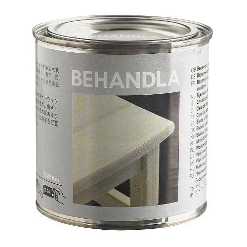 BEHANDLA Bivoksbalsam IKEA For ubehandlet tre; gir en robust og slitesterk overflate. 49 nok 0,4 l