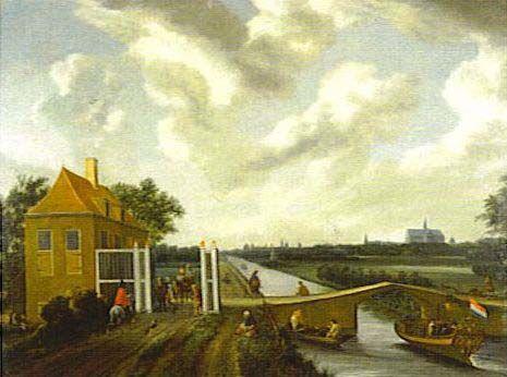 Tolhuis en tolpoort Haarlem-Leiden in Heemstede. Aan de horizon is de Oude Bavokerk afgebeeld