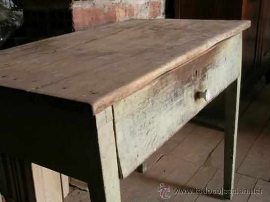 Antigua mesa tocinera madera de pino maciza 92cm x for Mesa madera antigua