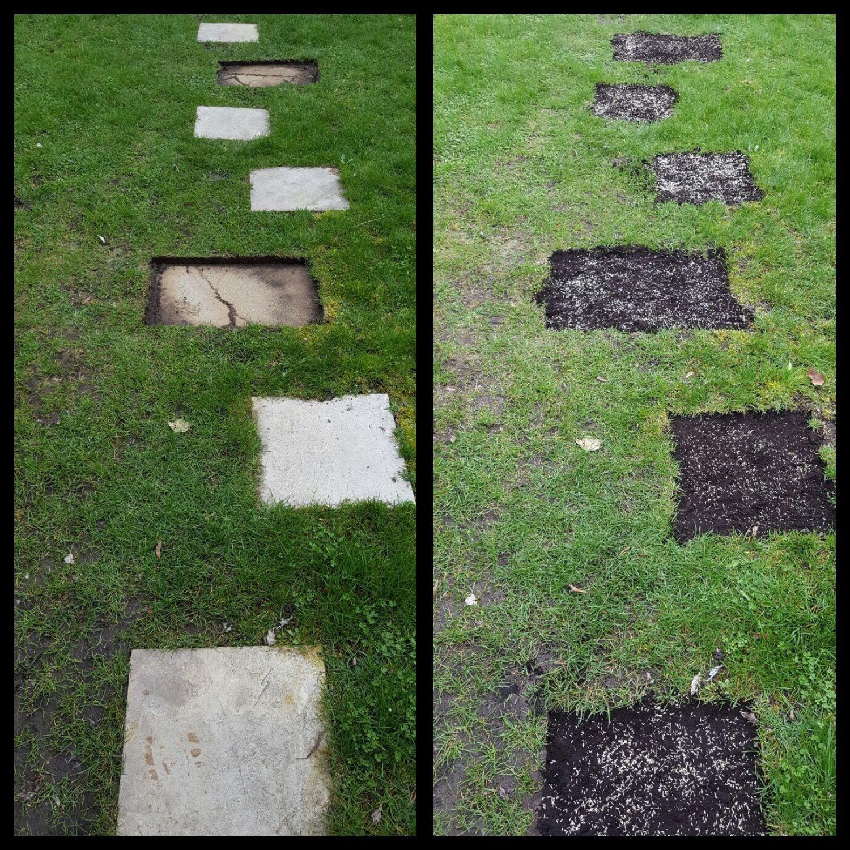 unter den gartenplatten soll wieder gras wachsen. #garten #gärtner, Gartenarbeit