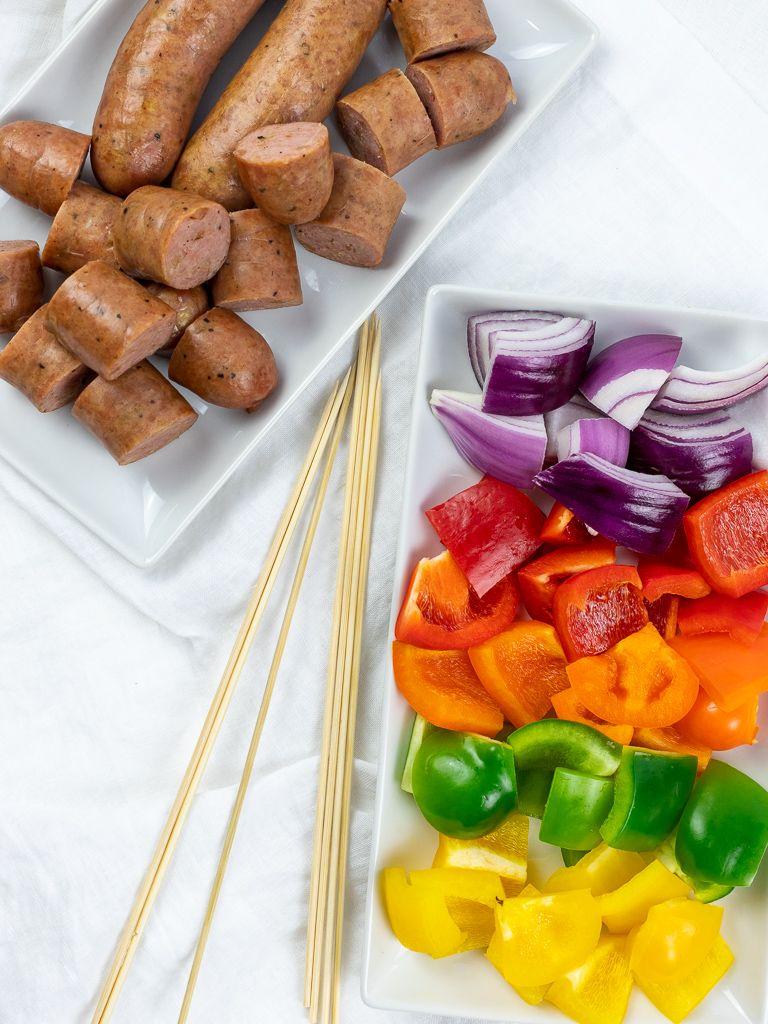 Grilled chicken sausage kabobs recipe sausage kabobs